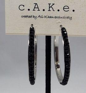 Jet Black Beads and Silver-Tone Hoop Earrings